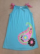 Hanna Andersson turquoise drawstring dress ADORABLE! fits 9-11 years old NWOT