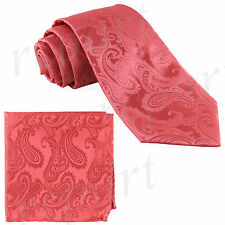 New Brand Q Men's micro fiber Paisley Neck Tie & Hankie Set coral Prom formal