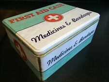 RETRO FIRST AID BOX STORAGE MEDICAL KIT TIN LID CONTAINER MEDICINE GREEN NEW