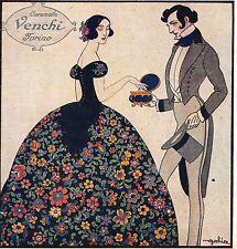 Eugenio Colmo-GOLIA-caramella-pubblicità VENCHI-cofanetto-liberty-fiori-1923.