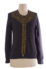 BODEN Women's Dark Gray Solid Long Sleeve Adorned Cotton Cardigan US Size 8 NEW