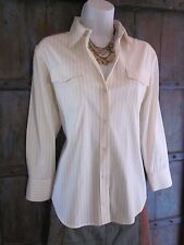 THEORY Button Down LONG Sleeve Women's SHIRT Blouse Stretch Cotton Size LARGE