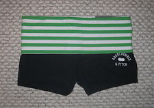 NWT ABERCROMBIE & FITCH GREEN NAVY BLUE FOLDOVER WAIST XS YOGA STRETCH SHORTS