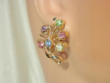 Coro Signed Vintage 1950s Pastel Rhinestone Flower Earrings Cute  657M4