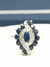 14k Yellow Gold Natural Sapphire And Diamond Marquise Shape Ring. September B
