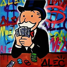 Alec Monopoly Oil Painting on Canvas Abstract Graffiti art decor Poker 28x28""