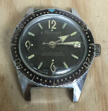 Vintage Beauvais De Luxe Skin Diver Broad Arrow Manual Wind Watch For Repair