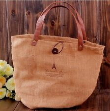 Retro Stylish Brown Paris Eiffel Tower Women Handbag Tote Bag Shopping Bag