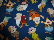SNOW WHITE & THE SEVEN DWARFS Fabric Cotton Fat Quarter Craft Quilting DISNEY