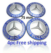 MERCEDES 4 Pcs BLUE WREATH CENTER WHEEL HUB CAPS 75MM COVER CHROME EMBLEM CAP