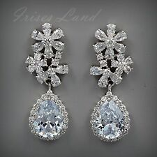 White Gold Plated Cubic Zirconia CZ Wedding Bridal Drop Dangle earrings 8539 New