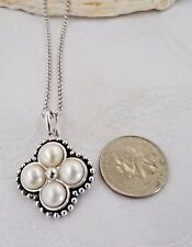 HONORA 4 WHITE BUTTON  PEARL PALLINI PENDANT/ENHANCER  AND STERLING CHAIN NEW