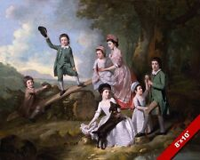 YOUNG CHILDREN NICELY DRESSED KIDS GEORGIAN ERA PAINTING ART REAL CANVAS PRINT