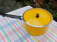 VINTAGE BRIGHT YELLOW ENAMEL  RETRO SAUCEPAN