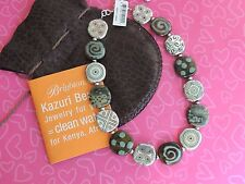 Brighton Necklace Kazuri Handmade Beads Brown Teal Silver NWT Pouch Papers