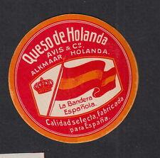 Ancienne  petite  étiquette Fromage Hollande  BN11709 Drapeau Espagne