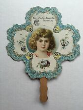 1900s Advertising Hand Fan Keeley Stove Company Columbia PA Little Girl