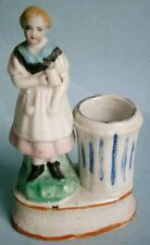 Victorian Figural Match Holder of Girl with Mug