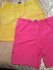 "2 PAIR WOMEN'S ""LANDS' END"" SHORTS~ BRIGHT PINK & YELLOW ~SIZE 16~ EUC!!"