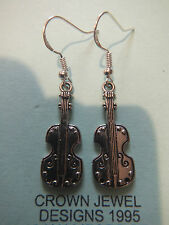 HANDMADE STERLING/TIBETAN SILVER DOUBLE BASS EARRINGS GIFT BAG VIOLIN VIOLA BOW