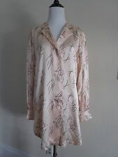 Escada Dress Light Pink Long Sleeve 100% Silk Night Gown Sleep Shirt size 8