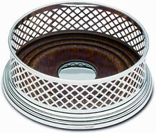 "ENGLISH SILVER 5"" WINE COASTER / BOTTLE COASTER BASKET WEAVE (NEW)"