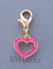 Pink HEART Rose Gold Dangle Clip On Charm Fit Link Chain Floating locket C146