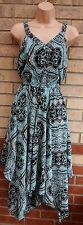 H&M BLUE BLACK GREY FLORAL ABSTRACT FLIPPY FLARE FULL SKATER TEA DRESS 12 M