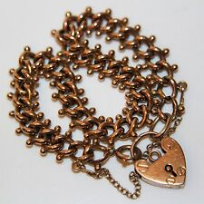 Fabulous Victorian 9ct Rose Gold Gate Padlock Bracelet