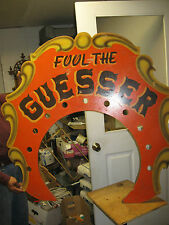 """Antique Carnival Gaming Sign """" Fool the Guesser Sign"""""""