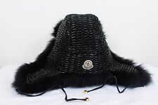 VERY RARE WOMENS MONCLER BLACK FOX REAL FUR HAT CAP LUXURY LOGO SIZE S AUTHENTIC