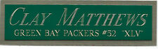 CLAY MATTHEWS PACKERS NAMEPLATE AUTOGRAPHED Signed FOOTBALL-HELMET-JERSEY-PHOTO