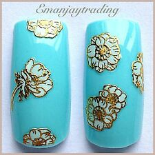 Nail Art 3D Decals/Stickers White Flowers Gold Edging #158