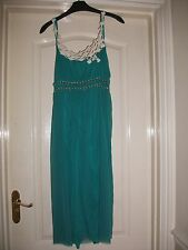 KOOKAI JADE GREEN FLOATY RIBBON EMBELLISHED PRETTY CREAM EMBROIDERED STRAP DRESS