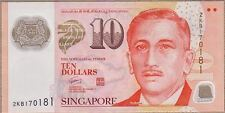 Singapore 10 Dollars ND(2009) UNC**New Sign - Polymer (2 Squares)