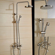 """Brushed Nickle 8""""Rain Shower Faucet Set Bath Tub Mixer Tap With Handle Spray"""