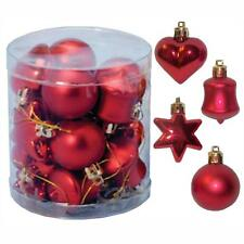 Christmas Tree Decoration 18 Multi Pack Star Heart Bell Baubles - Red