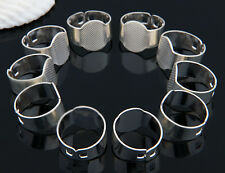 10pcs Silver Plated Adjustable Flat Ring Pad Bases Blanks Jewelry DIY Findings