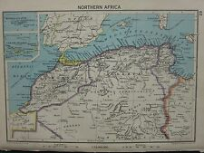 1942 MAP ~ NORTHERN AFRICA MOROCCO ALGERIA CANARY ISLANDS MADEIRA