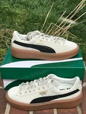 puma suede platform core shoes size 41/10 new in box whisper white/black new