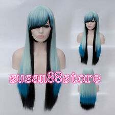 Multi-Color Mixed Lolita Straight Long Anime Cosplay wigs + Free wig cap
