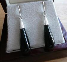 BEAUTIFUL STYLISH BLACK ONYX 925 STERLING SILVER LONG DROP EARRINGS 3CMS