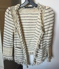 Zara Fringe Jacket Cotton Blend Navy/Ivory Stripes XS