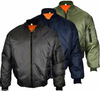 Men's MA1 Bomber Harrington Jacket Military Flight Biker Retro Jacket Plus Size
