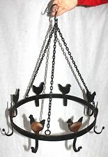 BLACK Iron CHICKEN KITCHEN HANGING Pot HOLDER RACK Pan HANGER UTILITY COOKWARE