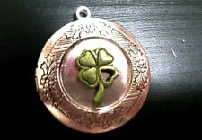 "IRISH LUCK 4 LEAF CLOVER Photo Locket silver on sterling 18"" chain necklace"