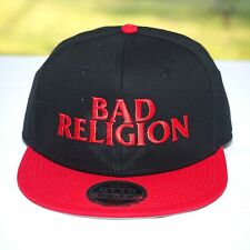 BAD RELIGION - EMBROIDERED RED LOGO SNAP BACK HAT - Official Headwear & Shirt