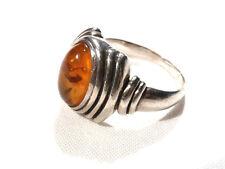 Bijou argent 925 bague art déco cabochon ambre naturelle taille 58 ring
