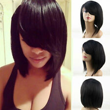"10"" Virgin Peruvian Human Hair Silky Straight Black Lace Front Bob Wig+Side Bang"
