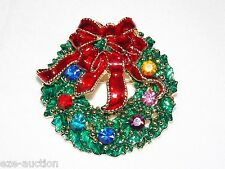 Christmas Crystal Wreaths Pendant Brooch Pin -COMES IN GIFT BOX- USA